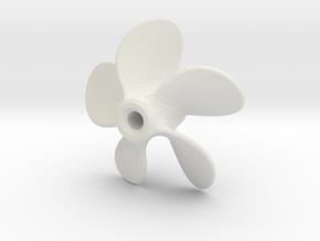 Model Ship Propeller 30mm 5-blades (RH) in White Natural Versatile Plastic