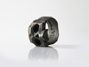 HAROW-SKULL-RING / Size - S in Polished Grey Steel