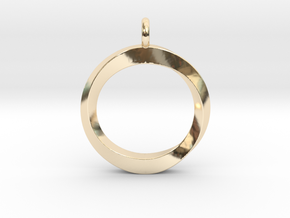 Twisting Loop Pendant in 14k Gold Plated Brass