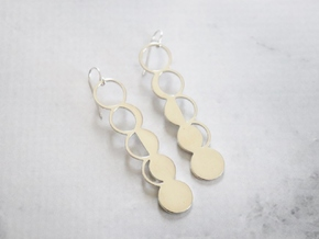 Moon Phase Earrings in Polished Silver