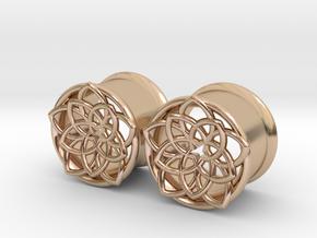 "Star Flower 5/8"" ear plugs 16mm in 14k Rose Gold Plated Brass"