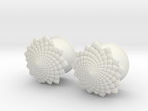 "Flower 5/8"" ear plugs 16mm in White Natural Versatile Plastic"