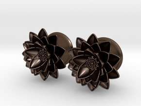 "Lotus flower 5/8"" ear plugs 16mm in Polished Bronze Steel"