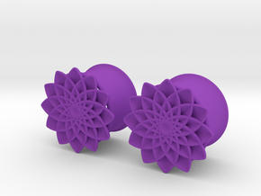 "5/8"" ear plugs 16mm - Flowers 12 petals in Purple Processed Versatile Plastic"