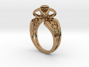 3-2 Enneper Curve Twin Ring (001) in Polished Brass