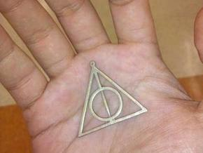 deathly hallows harry potter pendant no spin in Polished Bronzed Silver Steel