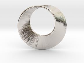 Mini Mobius pierced in Rhodium Plated Brass
