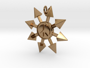 Chaos Star with Peace symbol in Natural Brass