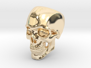 Human Skull Ring size 12 in 14k Gold Plated Brass