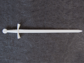 Crusader Sword - 1:3 in White Natural Versatile Plastic