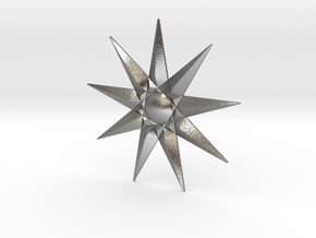 Nine-pointed Star Brooch in Natural Silver