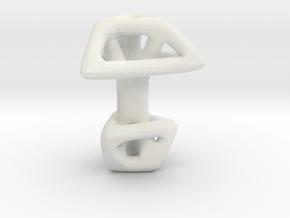 Triangular cufflink twisted in White Natural Versatile Plastic