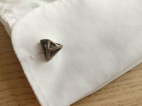 Triangular cufflink twisted in Polished Bronze Steel
