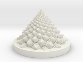 Romanesco fractal Bloom zoetrope (backwards) in White Natural Versatile Plastic: Medium
