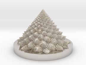 Romanesco fractal Bloom zoetrope (backwards) in Rhodium Plated Brass: Medium