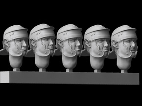 1/25 scale Roman Legionary heads (5)  in Smooth Fine Detail Plastic