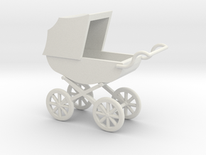 1:24 Pram Stroller in White Strong & Flexible