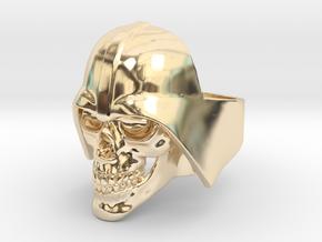 Skull Vader Ring in 14k Gold Plated Brass: 11 / 64