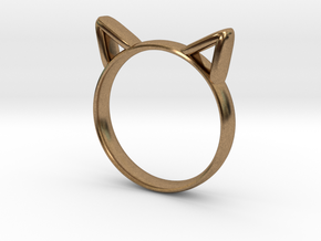 Cat Ears Ring in Natural Brass