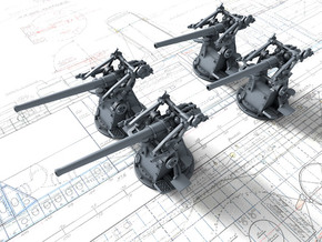 "1/350 12-pdr 3""/45 (76.2 cm) 20cwt Guns x4 in Smoothest Fine Detail Plastic"