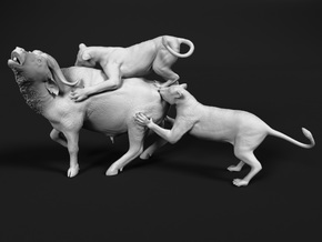 Cape Buffalo 1:35 Attacked by Lions in White Natural Versatile Plastic