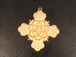 Rose Cross Pendant in Polished Gold Steel