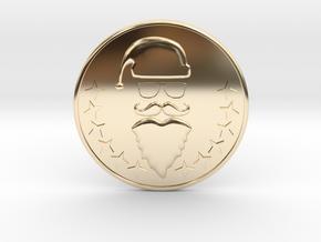Santa Coaster in 14k Gold Plated Brass