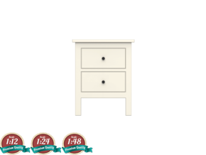 Miniature HEMNES 2-Drawer Chest - IKEA in White Natural Versatile Plastic: 1:24