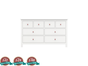 Miniature HEMNES 8 Drawers Dresser - IKEA in White Natural Versatile Plastic: 1:24