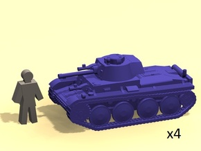 6mm Panzer 38(t) tank (x4) in Smooth Fine Detail Plastic