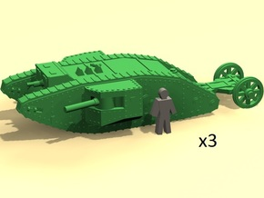 6mm WW1 Mk.I Male tank in Smoothest Fine Detail Plastic