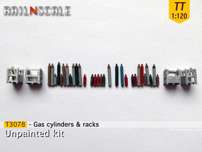 Gas cylinders and racks (TT 1:120) in Smooth Fine Detail Plastic