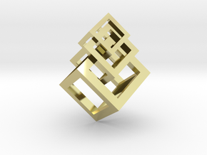 3 interlaced cubes necklace  in 18k Gold Plated Brass: Medium