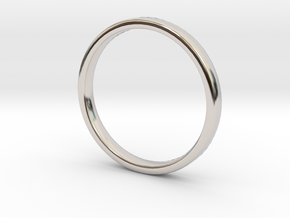 Simple wedding ring 2x1.1mm in Rhodium Plated Brass: 5 / 49