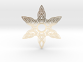 Celtic Knot Abstract Amulet Form in 14k Gold Plated Brass