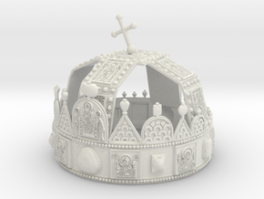 Hungarian Holy Crown - full scale version in White Strong & Flexible