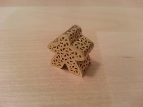 Filigree Meeple in Raw Brass