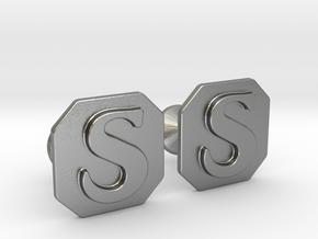 Monogram Cufflinks S in Natural Silver