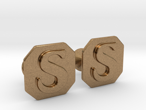 Monogram Cufflinks S in Natural Brass