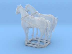2 pack HO scale horses with harnesses variant 1  in Smooth Fine Detail Plastic