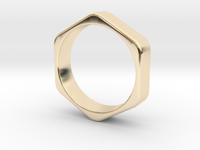 Hex Nut Ring - Size 10 in 14K Yellow Gold