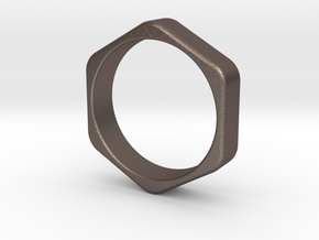 Hex Nut Ring - Size 10 in Polished Bronzed Silver Steel