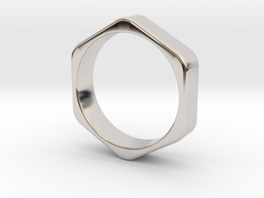 Hex Nut Ring - Size 10 in Rhodium Plated Brass