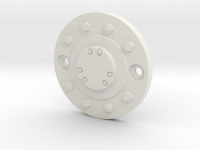 2.2-inch Wheel Cap in White Natural Versatile Plastic: 1:10