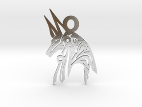 Anubis - Amulet - Abstract in Polished Silver