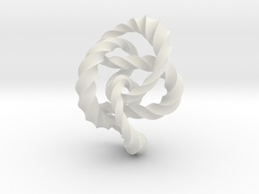 Knot 8₂₀ (Twisted square)  in White Natural Versatile Plastic: Extra Small