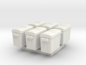 1/87 Scale Freezer Containers x6 in White Natural Versatile Plastic