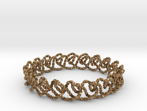 Chain stitch knot bracelet (Twisted square) in Natural Brass: Extra Small