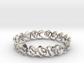 Chain stitch knot bracelet (Square) in Rhodium Plated Brass: Extra Small