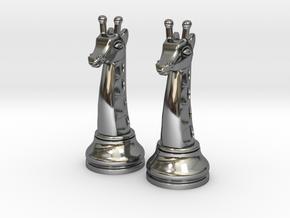 Pair Chess Giraffe Big / Timur Giraffe Zarafah in Fine Detail Polished Silver